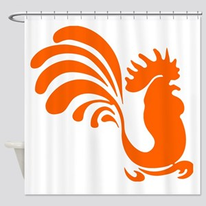 Orange Rooster Silhouette Shower Curtain