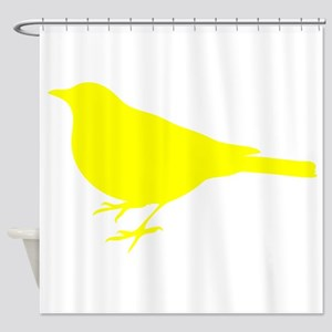 Yellow Robin Silhouette Shower Curtain