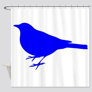 Blue Robin Silhouette Shower Curtain