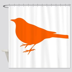 Orange Robin Silhouette Shower Curtain