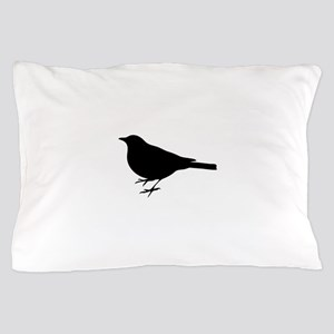 Black Robin Silhouette Pillow Case