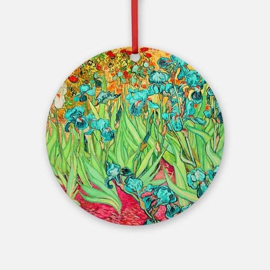 van gogh teal irises Round Ornament