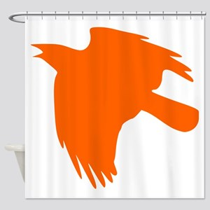 Orange Falcon Silhouette Shower Curtain