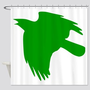Green Falcon Silhouette Shower Curtain