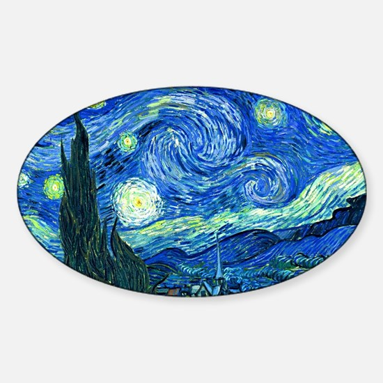 van gogh starry night Sticker (Oval)