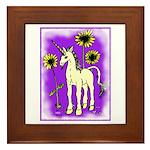 Sunflower Unicorn Framed Tile