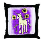 Sunflower Unicorn Throw Pillow