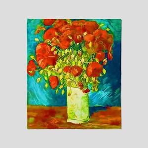 orange poppies van gogh Throw Blanket