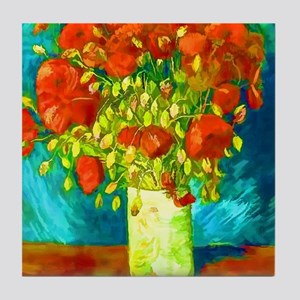 orange poppies van gogh Tile Coaster