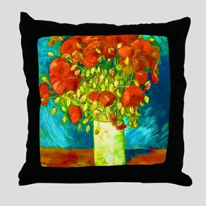orange poppies van gogh Throw Pillow