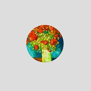 orange poppies van gogh Mini Button