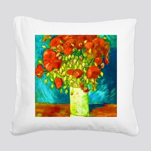 orange poppies van gogh Square Canvas Pillow