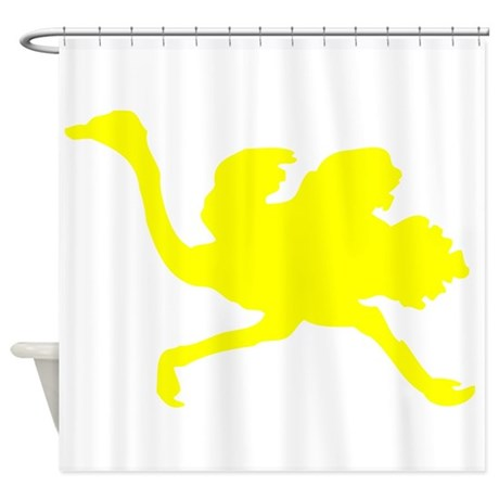 Yellow Ostrich Silhouette Shower Curtain