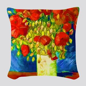 red poppies 2 Woven Throw Pillow