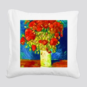 red poppies 2 Square Canvas Pillow