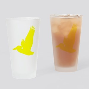 Yellow Pelican Silhouette Drinking Glass