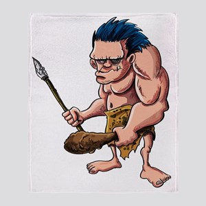 Cartoon caveman with a club Throw Blanket