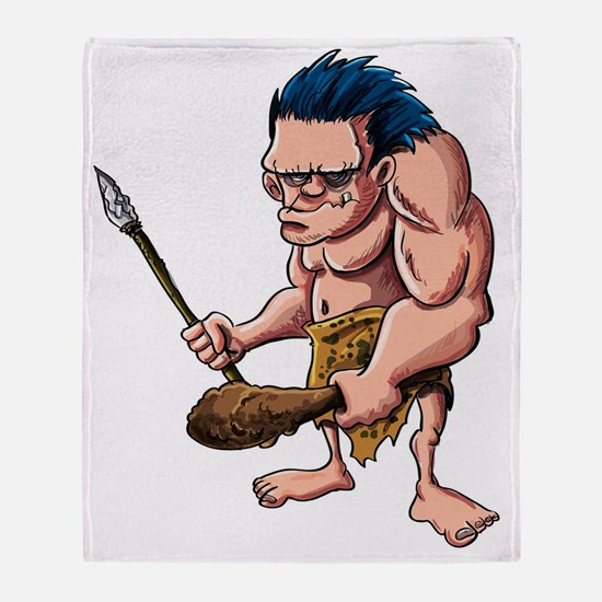 Cartoon caveman with a club Throw Blanket