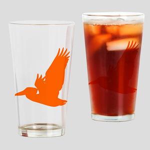 Orange Pelican Silhouette Drinking Glass