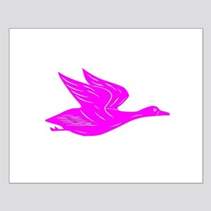 Pink Flying Duck Silhouette Poster Design