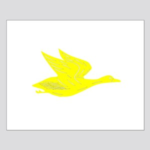 Yellow Flying Duck Silhouette Poster Design