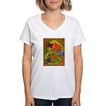 Woman in Vines- Butterflies Women's V-Neck T-Shirt