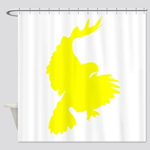 Yellow Hawk Silhouette Shower Curtain