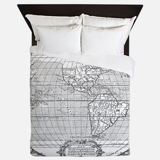 Old world nautical map bedding cafepress world map 1587 queen duvet gumiabroncs Gallery