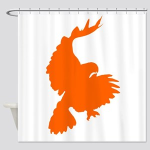 Orange Hawk Silhouette Shower Curtain