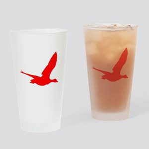 Red Stork Silhouette Drinking Glass