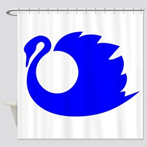 Blue Swan Silhouette Shower Curtain