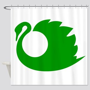 Green Swan Silhouette Shower Curtain
