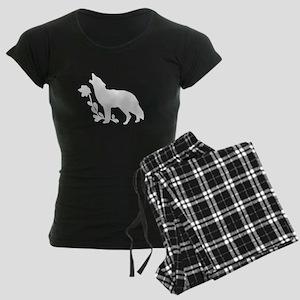 White Howling Wolf Silhouette pajamas