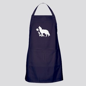 White Howling Wolf Silhouette Apron (dark)
