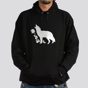 White Howling Wolf Silhouette Hoody