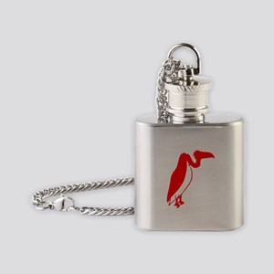 Red Vulture Silhouette Flask Necklace