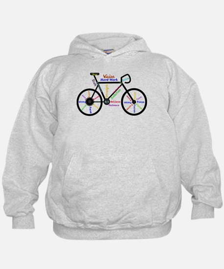 Bike made up of words to motivate Hoodie