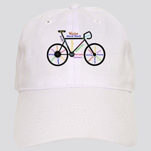 Bike made up of words to motivate Baseball Cap