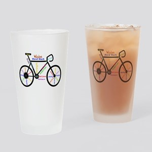 Bike made up of words to motivate Drinking Glass