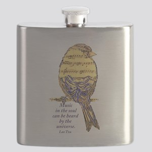 Music in the Soul quote Music Note Bird Flask