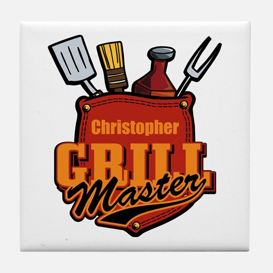 Pocket Grill Master Personalized Tile Coaster