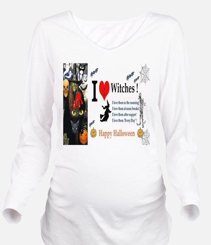 Halloween Witch Love Long Sleeve Maternity T-Shirt