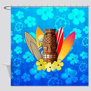 Tiki And Surfboards Shower Curtain
