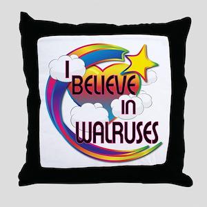 I Believe In Walruses Cute Believer Design Throw P