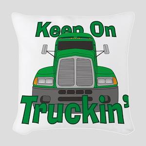 Keep On Truckin Woven Throw Pillow