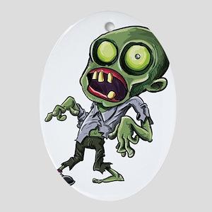 Scary cartoon zombie Oval Ornament
