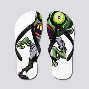 Scary cartoon zombie Flip Flops