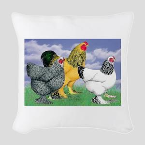 Three Brahmas Woven Throw Pillow