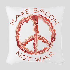 Peace of Bacon Woven Throw Pillow