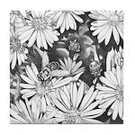 Flowers & Honey Bee Art Tile Coaster